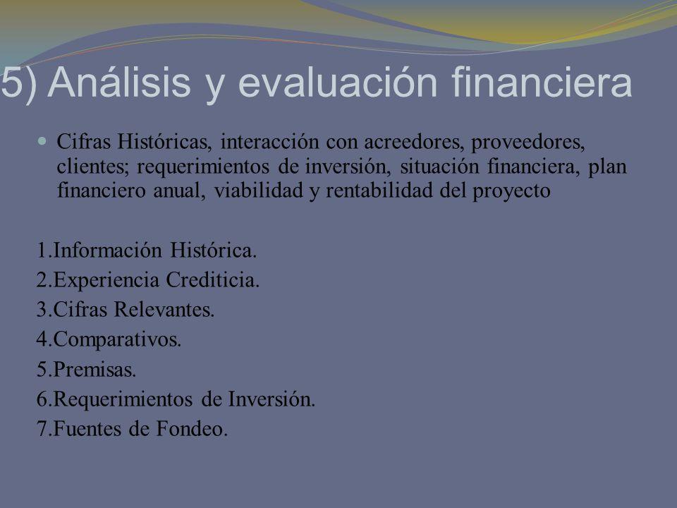 5) Análisis y evaluación financiera