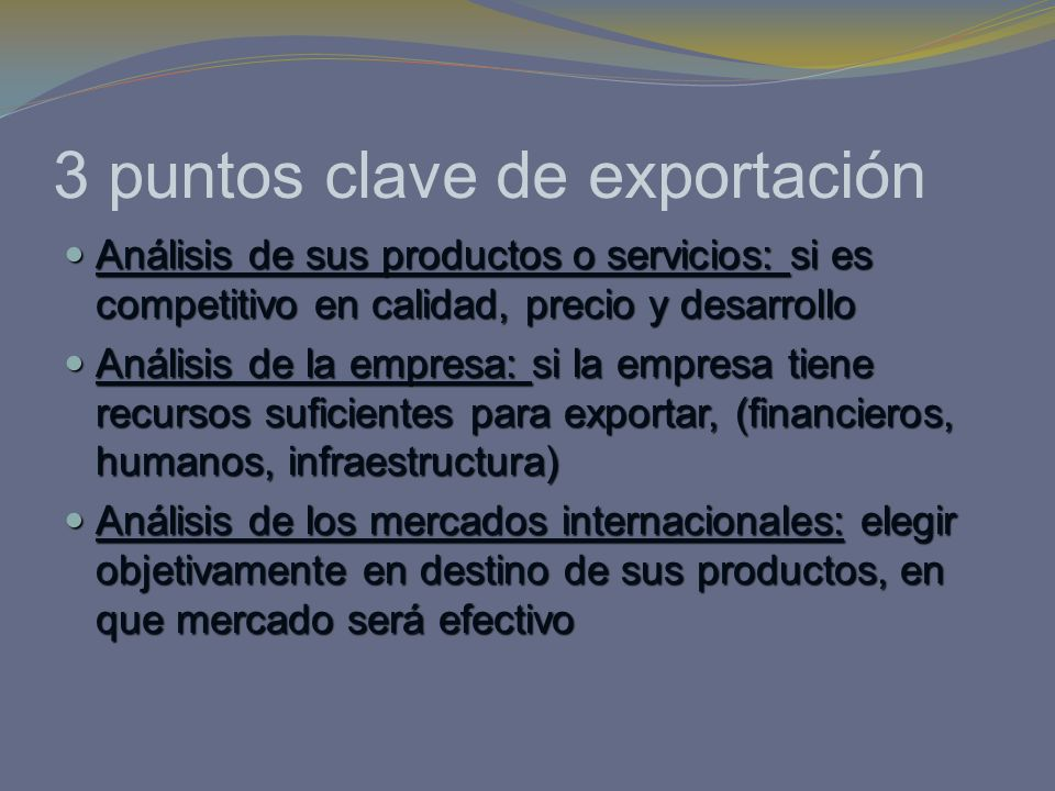 3 puntos clave de exportación
