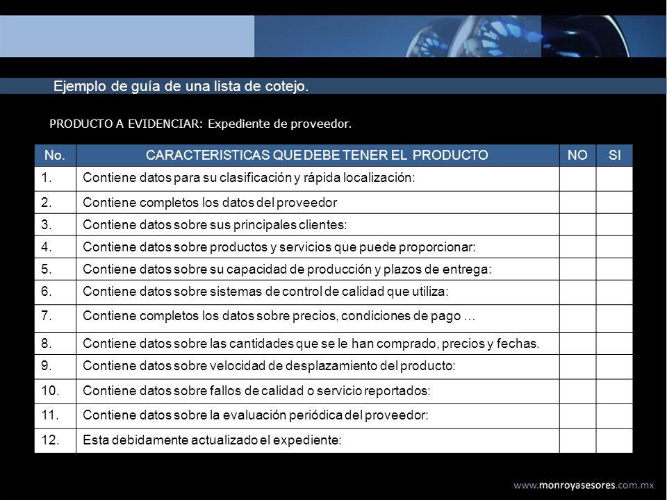 CARACTERISTICAS QUE DEBE TENER EL PRODUCTO