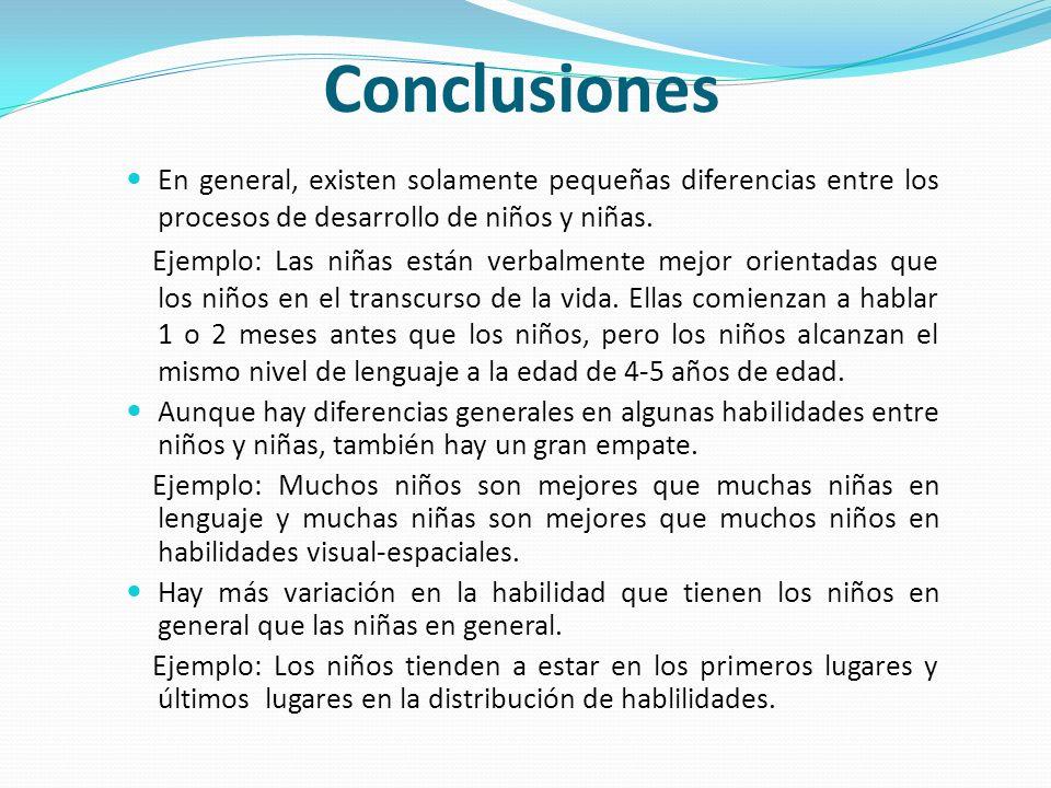Conclusiones En general, existen solamente pequeñas diferencias entre los procesos de desarrollo de niños y niñas.