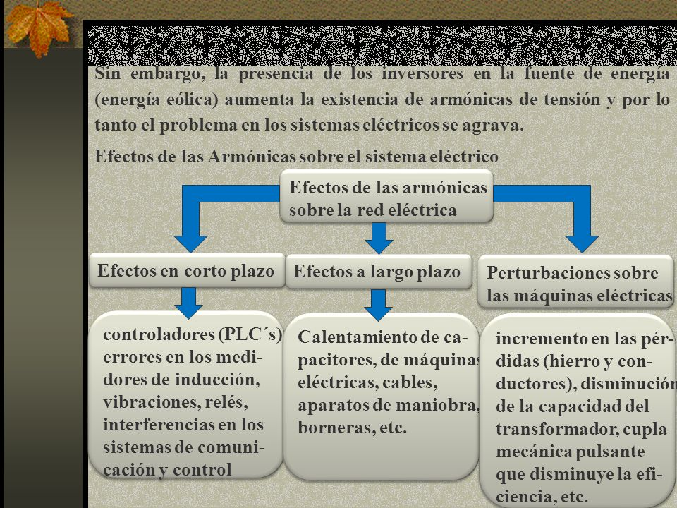 Sin embargo, la presencia de los inversores en la fuente de energía (energía eólica) aumenta la existencia de armónicas de tensión y por lo tanto el problema en los sistemas eléctricos se agrava.