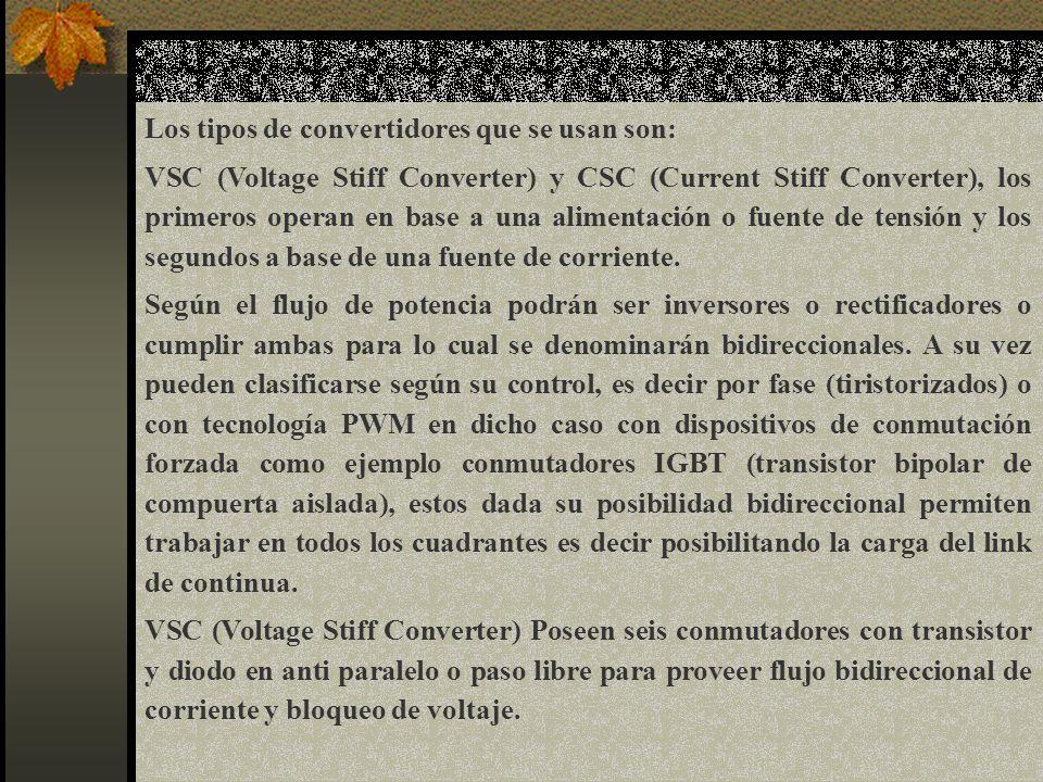 Los tipos de convertidores que se usan son: