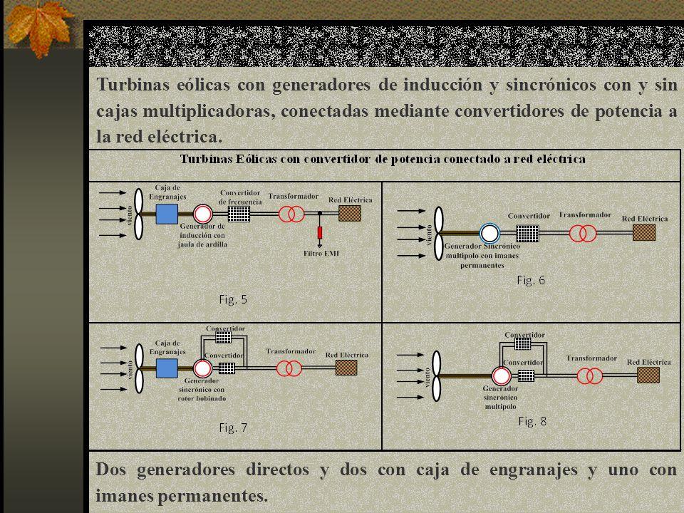Turbinas eólicas con generadores de inducción y sincrónicos con y sin cajas multiplicadoras, conectadas mediante convertidores de potencia a la red eléctrica.