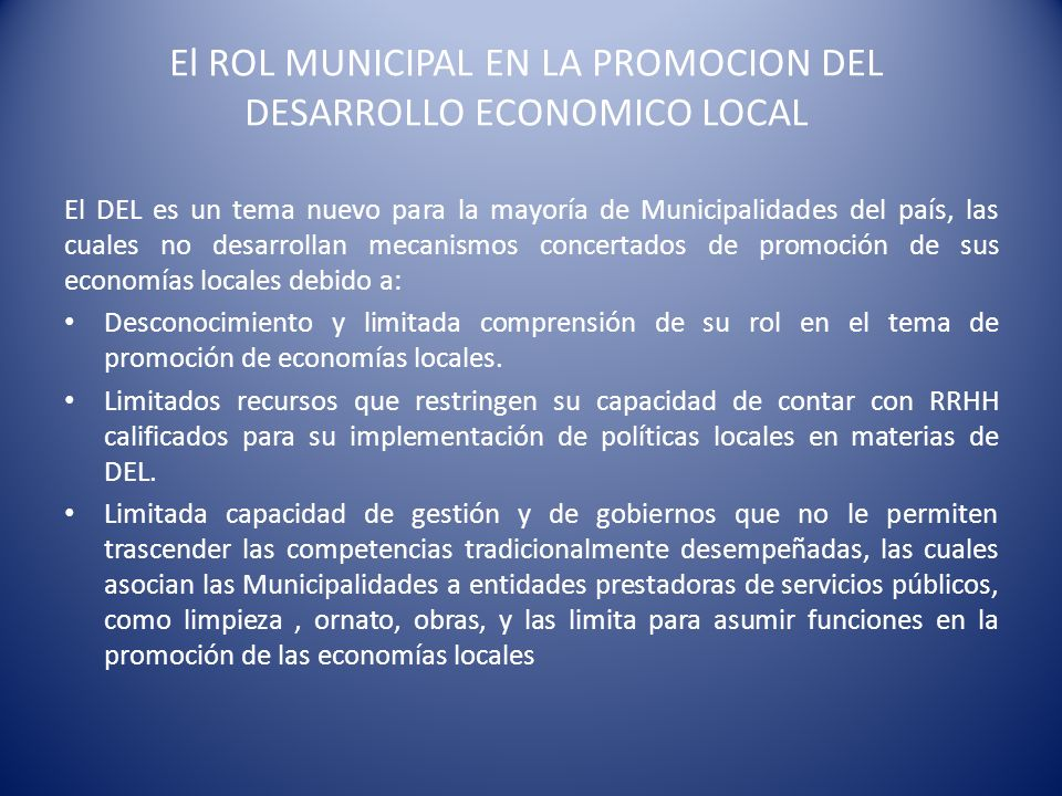 El ROL MUNICIPAL EN LA PROMOCION DEL DESARROLLO ECONOMICO LOCAL