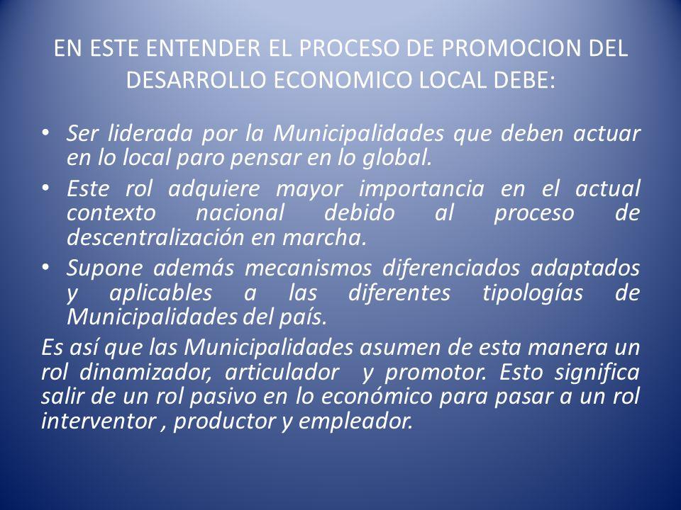 EN ESTE ENTENDER EL PROCESO DE PROMOCION DEL DESARROLLO ECONOMICO LOCAL DEBE: