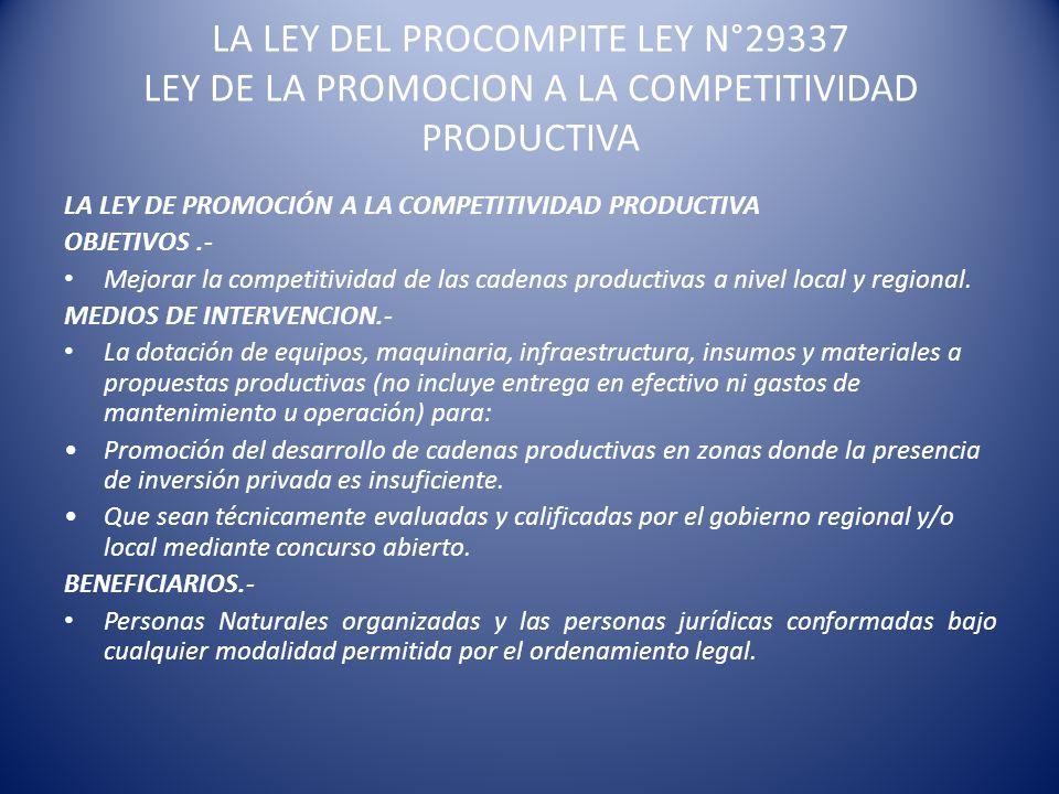 LA LEY DEL PROCOMPITE LEY N°29337 LEY DE LA PROMOCION A LA COMPETITIVIDAD PRODUCTIVA