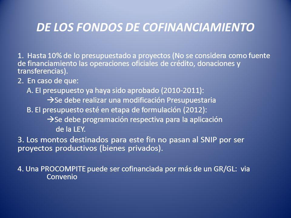 DE LOS FONDOS DE COFINANCIAMIENTO