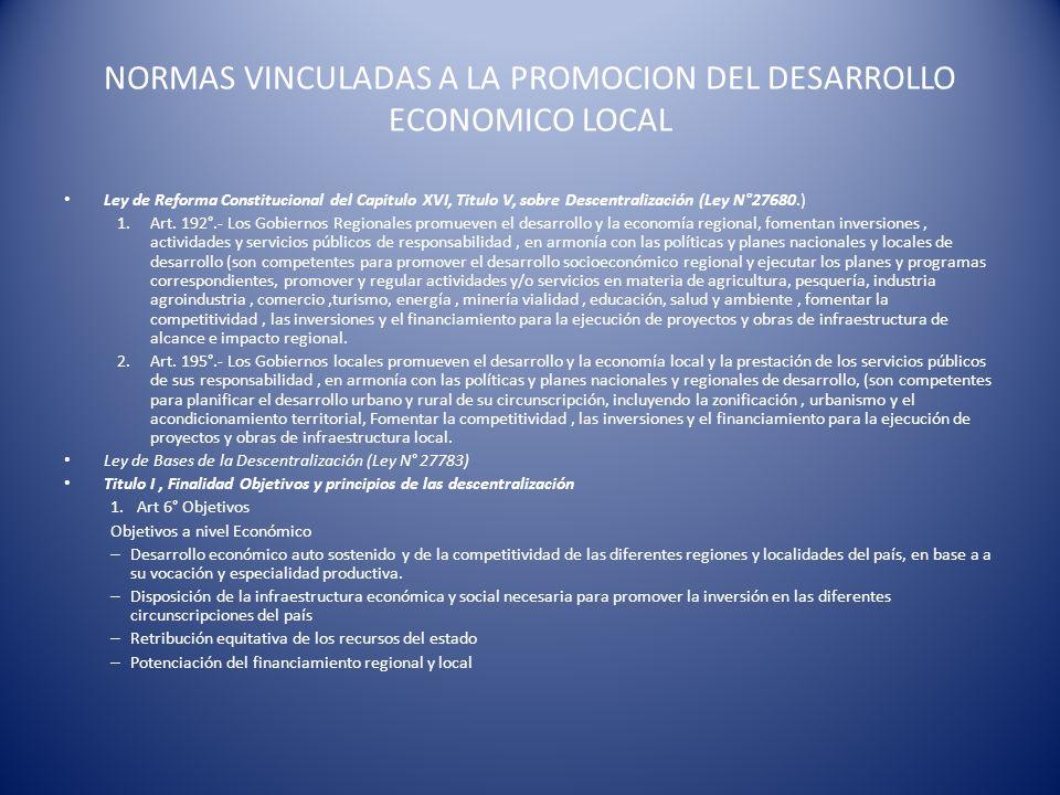 NORMAS VINCULADAS A LA PROMOCION DEL DESARROLLO ECONOMICO LOCAL