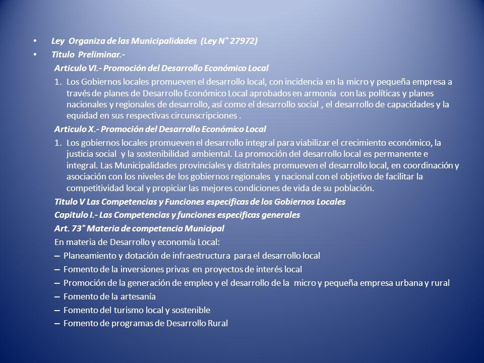 Ley Organiza de las Municipalidades (Ley N° 27972)