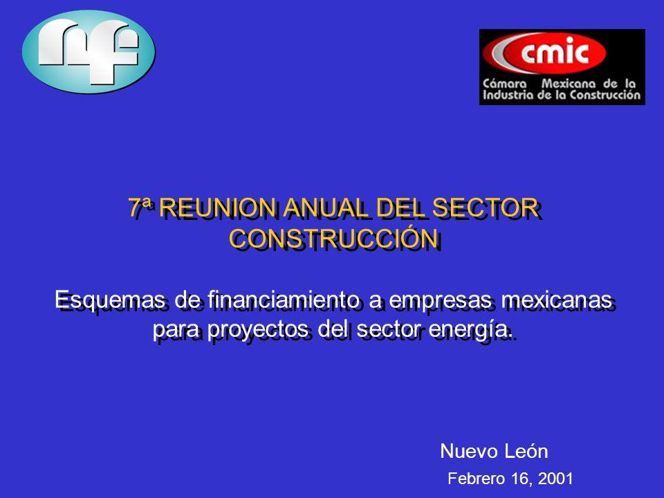 7ª REUNION ANUAL DEL SECTOR CONSTRUCCIÓN Esquemas de financiamiento a empresas mexicanas para proyectos del sector energía.