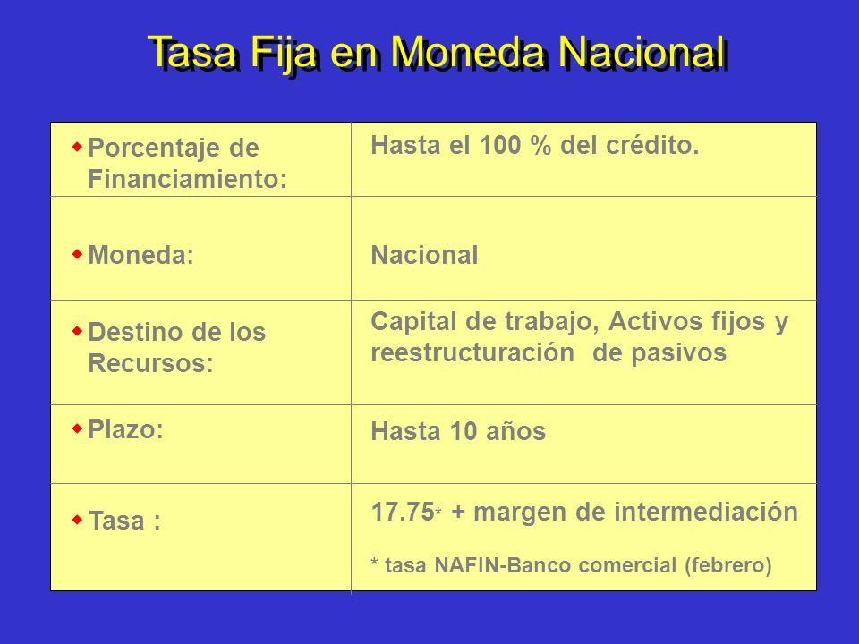 Tasa Fija en Moneda Nacional