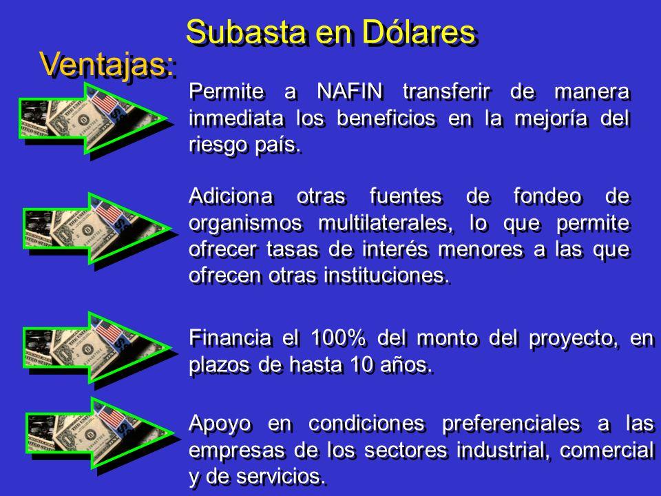 Subasta en Dólares Ventajas: