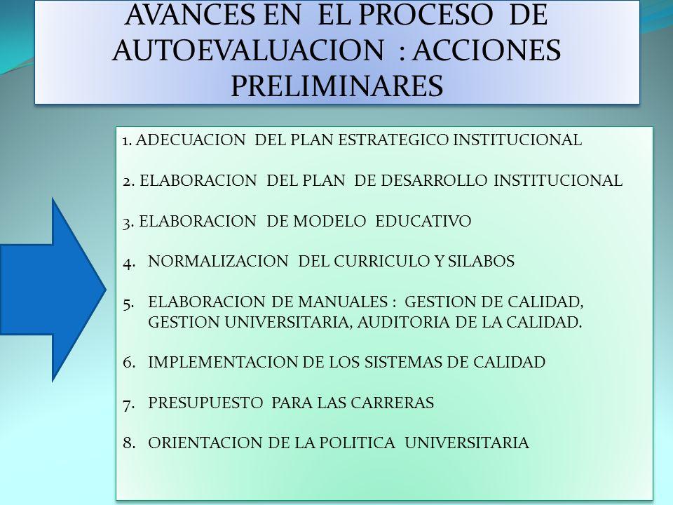 AVANCES EN EL PROCESO DE AUTOEVALUACION : ACCIONES PRELIMINARES