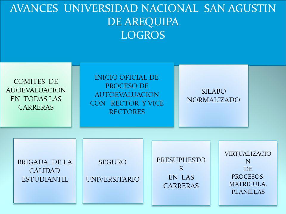 AVANCES UNIVERSIDAD NACIONAL SAN AGUSTIN DE AREQUIPA LOGROS