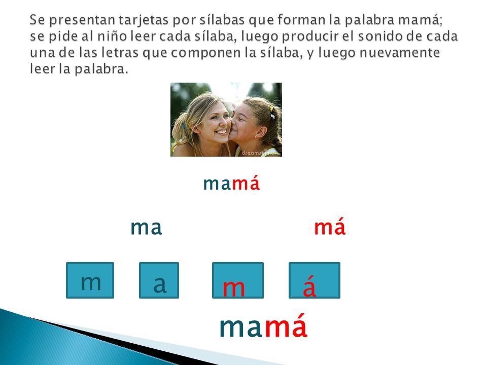 Se presentan tarjetas por sílabas que forman la palabra mamá; se pide al niño leer cada sílaba, luego producir el sonido de cada una de las letras que componen la sílaba, y luego nuevamente leer la palabra.