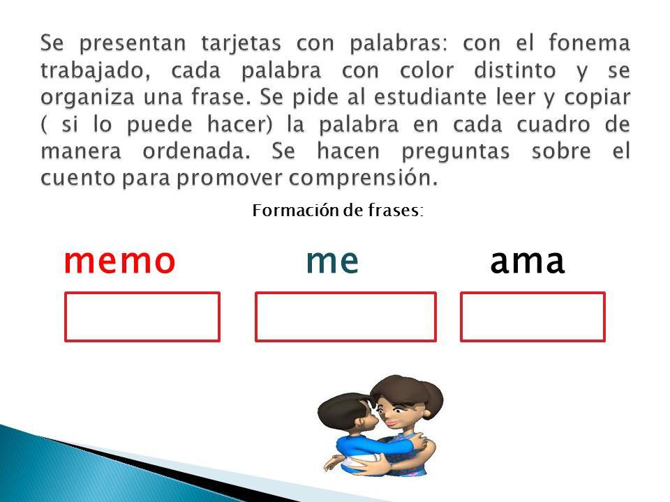 Se presentan tarjetas con palabras: con el fonema trabajado, cada palabra con color distinto y se organiza una frase. Se pide al estudiante leer y copiar ( si lo puede hacer) la palabra en cada cuadro de manera ordenada. Se hacen preguntas sobre el cuento para promover comprensión.