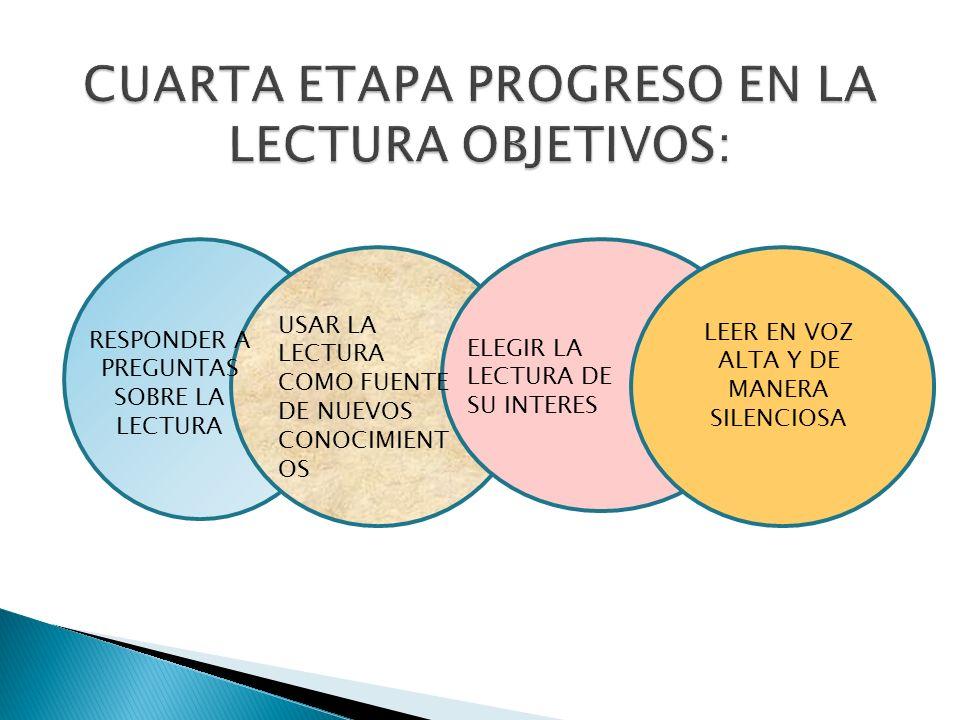 CUARTA ETAPA PROGRESO EN LA LECTURA OBJETIVOS: