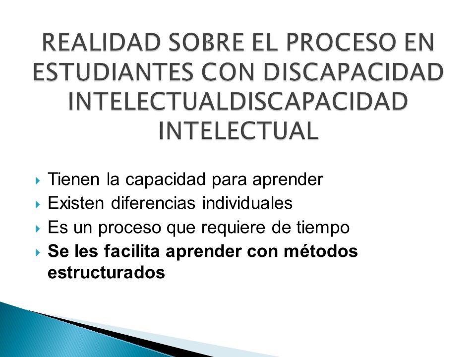REALIDAD SOBRE EL PROCESO EN ESTUDIANTES CON DISCAPACIDAD INTELECTUALDISCAPACIDAD INTELECTUAL