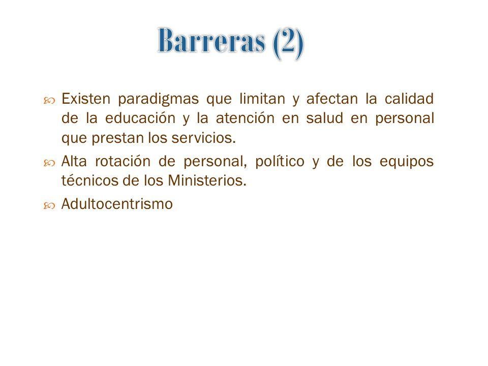 Barreras (2) Existen paradigmas que limitan y afectan la calidad de la educación y la atención en salud en personal que prestan los servicios.