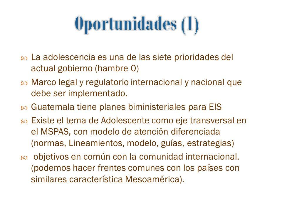 Oportunidades (1) La adolescencia es una de las siete prioridades del actual gobierno (hambre 0)