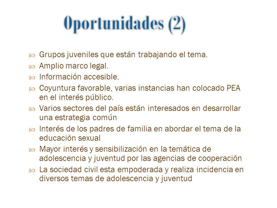 Oportunidades (2) Grupos juveniles que están trabajando el tema.