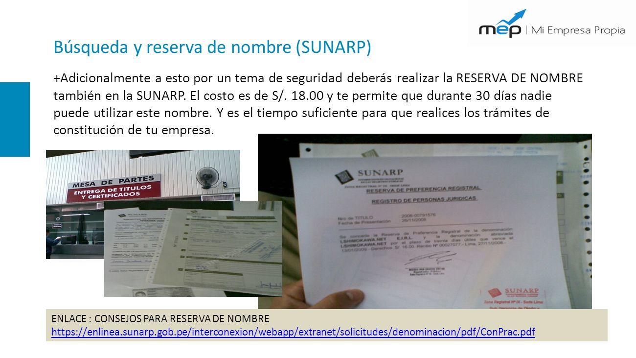 Búsqueda y reserva de nombre (SUNARP)