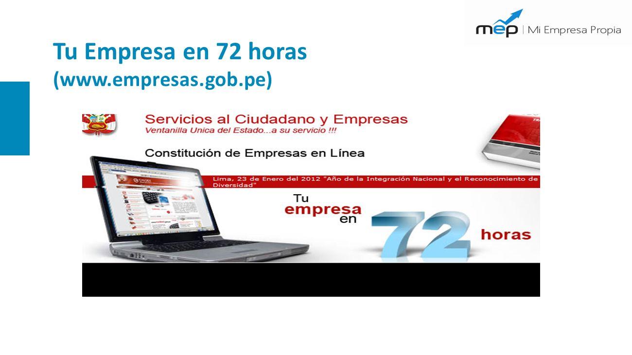 Tu Empresa en 72 horas (www.empresas.gob.pe)