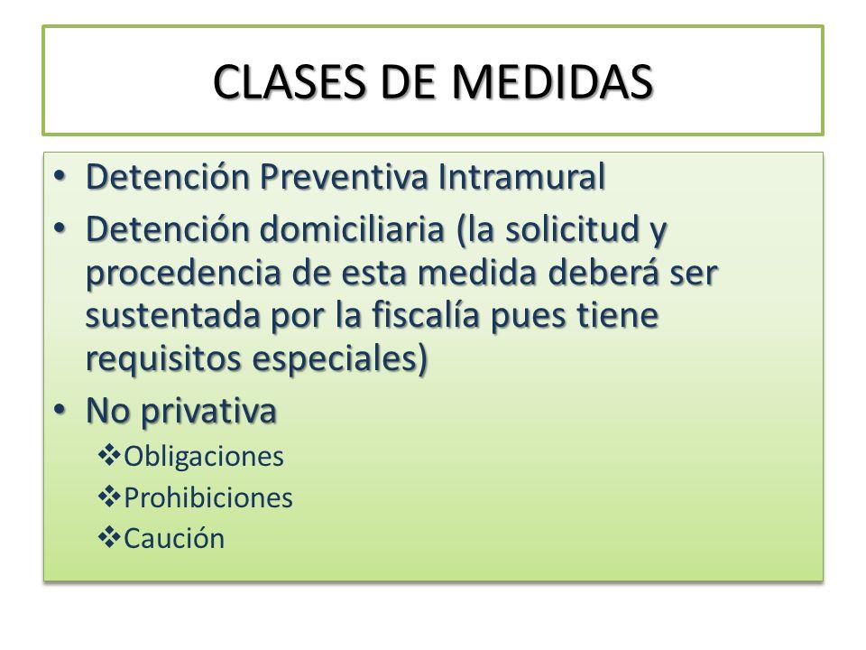 CLASES DE MEDIDAS Detención Preventiva Intramural