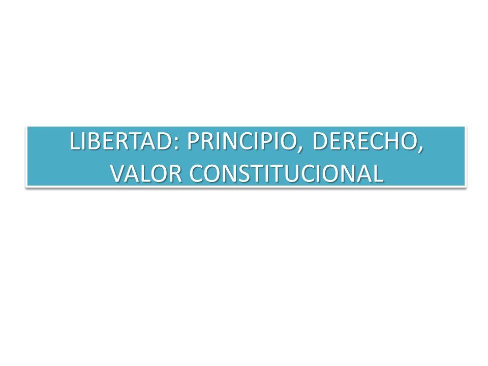 LIBERTAD: PRINCIPIO, DERECHO, VALOR CONSTITUCIONAL