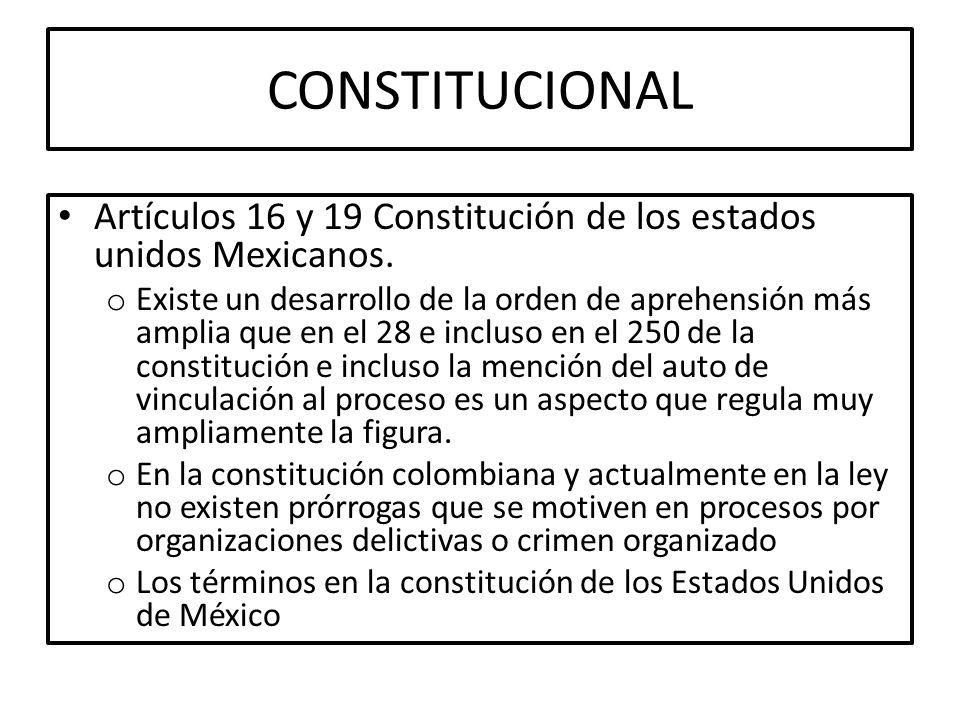 CONSTITUCIONAL Artículos 16 y 19 Constitución de los estados unidos Mexicanos.