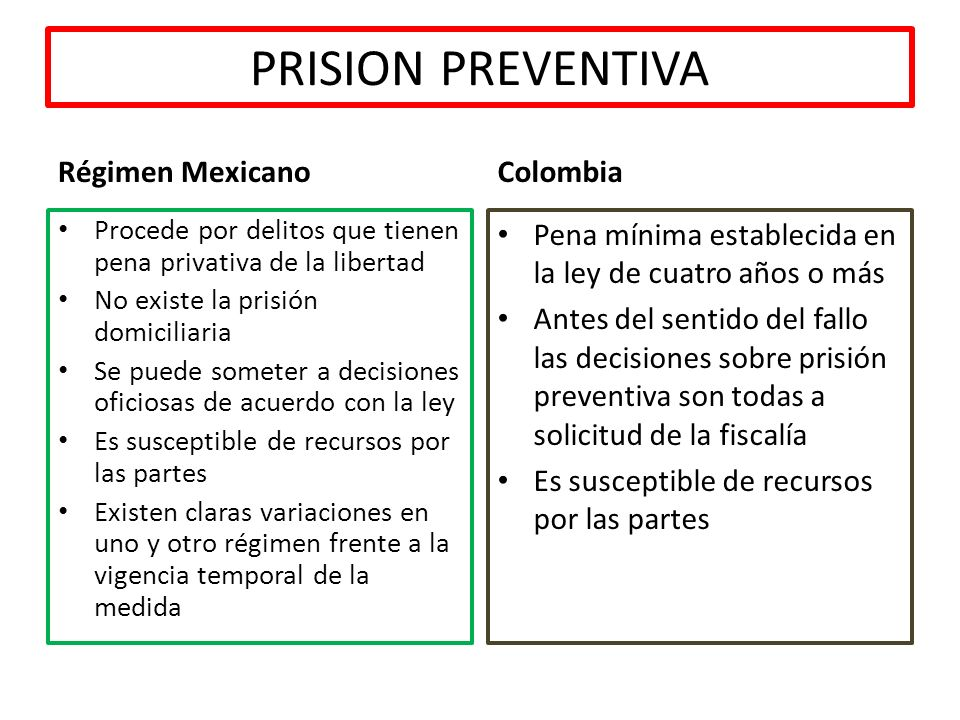PRISION PREVENTIVA Régimen Mexicano Colombia