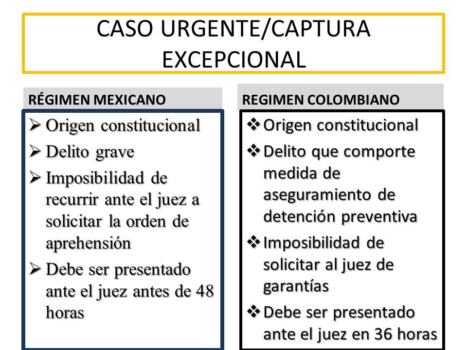 CASO URGENTE/CAPTURA EXCEPCIONAL