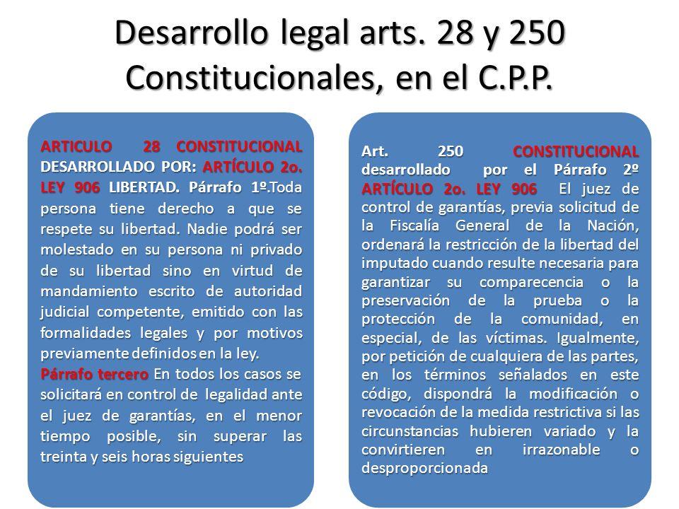 Desarrollo legal arts. 28 y 250 Constitucionales, en el C.P.P.