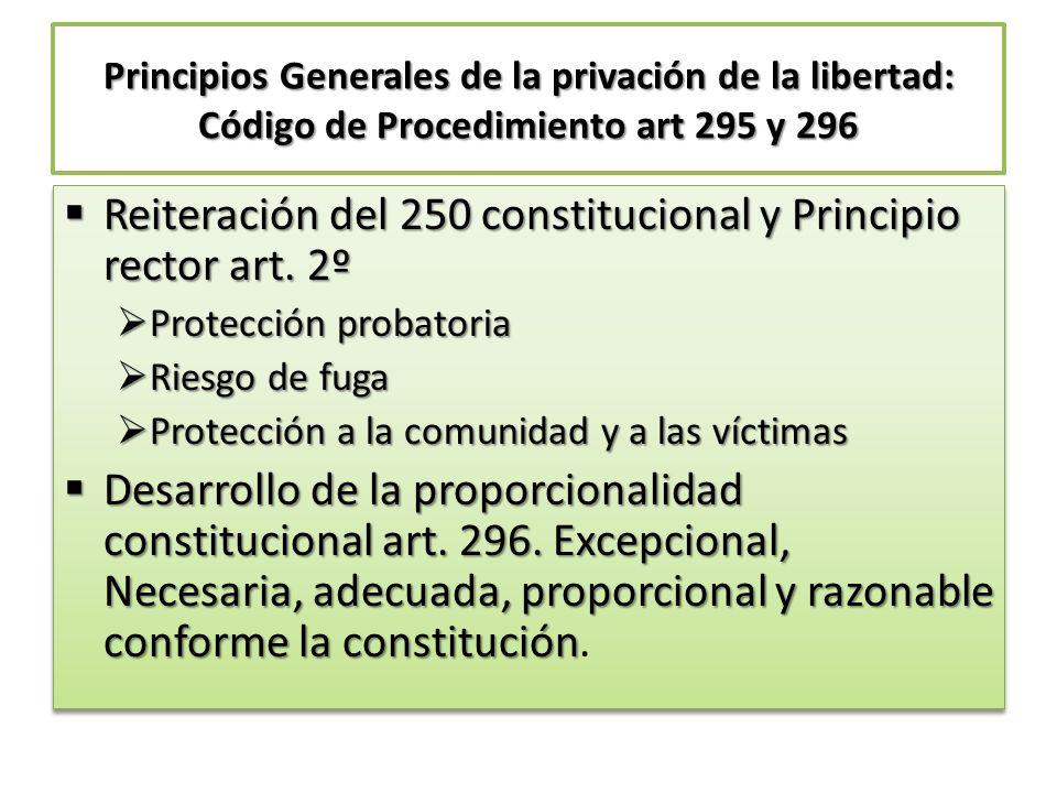 Reiteración del 250 constitucional y Principio rector art. 2º