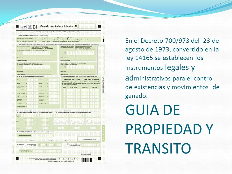 En el Decreto 700/973 del 23 de agosto de 1973, convertido en la ley 14165 se establecen los instrumentos legales y administrativos para el control de existencias y movimientos de ganado.