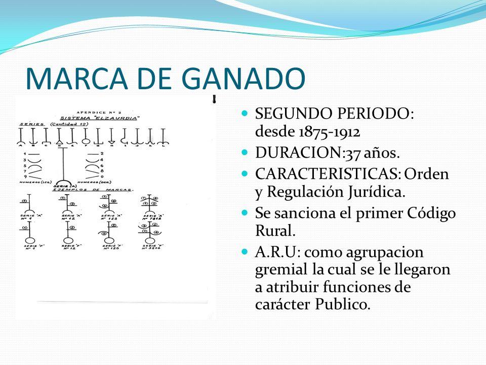 MARCA DE GANADO SEGUNDO PERIODO: desde 1875-1912 DURACION:37 años.