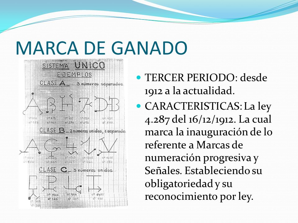 MARCA DE GANADO TERCER PERIODO: desde 1912 a la actualidad.
