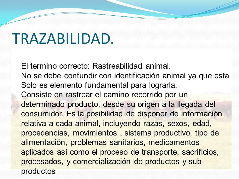 TRAZABILIDAD. El termino correcto: Rastreabilidad animal.