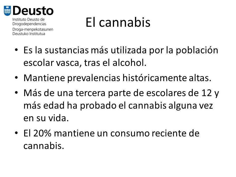 El cannabis Es la sustancias más utilizada por la población escolar vasca, tras el alcohol. Mantiene prevalencias históricamente altas.