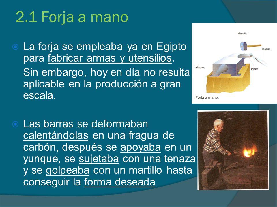 2.1 Forja a mano La forja se empleaba ya en Egipto para fabricar armas y utensilios.