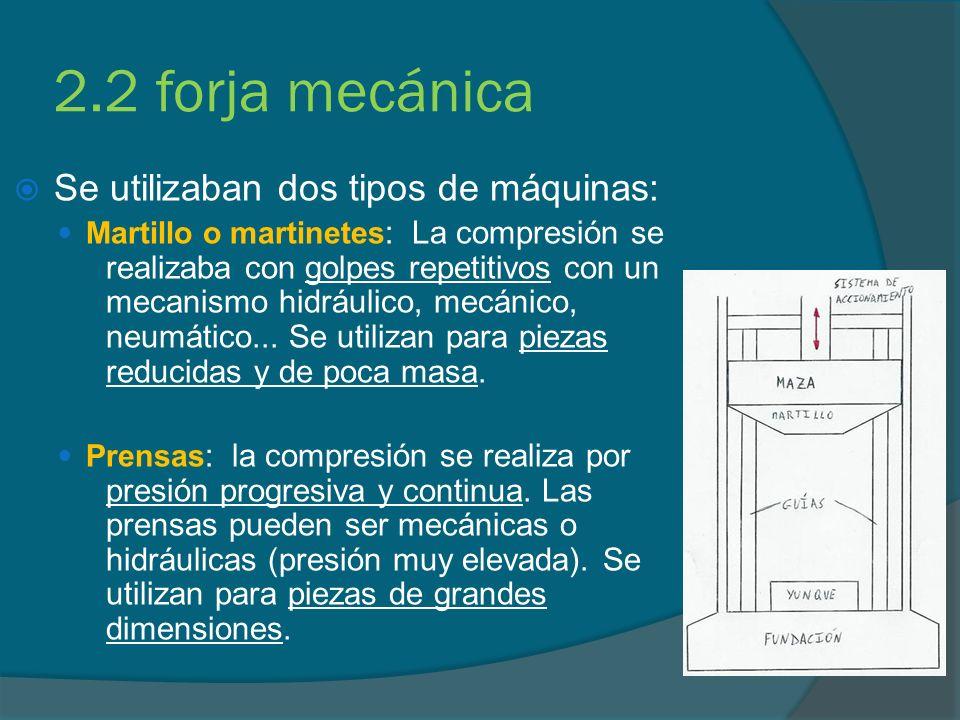2.2 forja mecánica Se utilizaban dos tipos de máquinas: