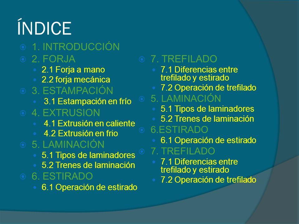 ÍNDICE 1. INTRODUCCIÓN 2. FORJA 7. TREFILADO 3. ESTAMPACIÓN