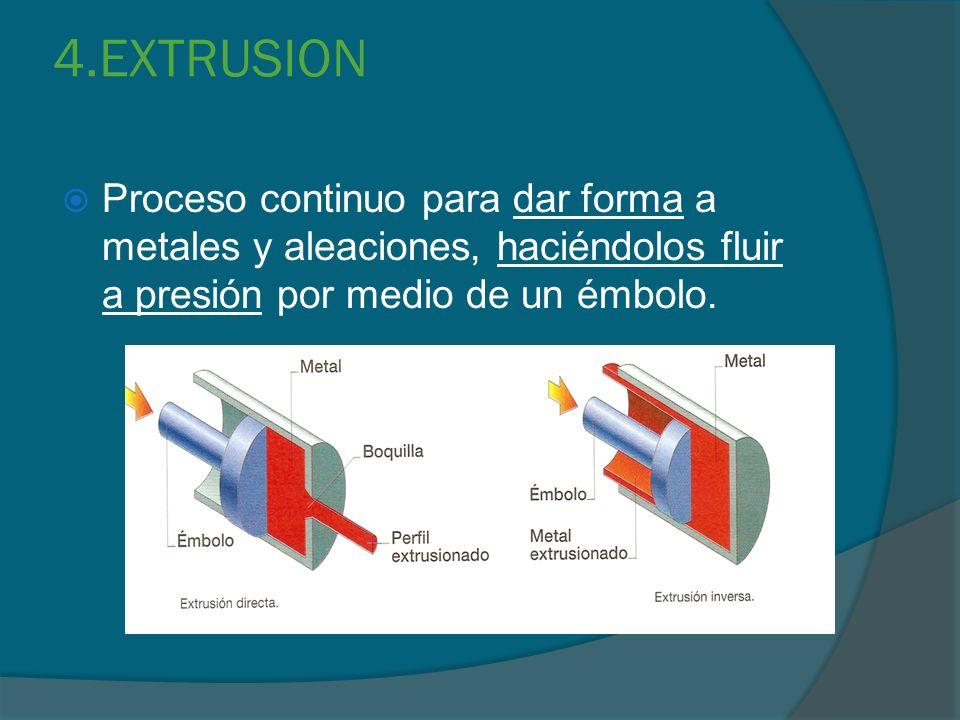 4.EXTRUSION Proceso continuo para dar forma a metales y aleaciones, haciéndolos fluir a presión por medio de un émbolo.