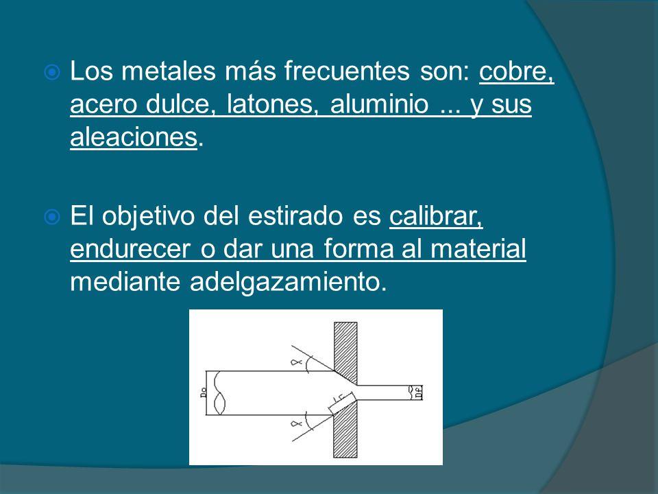 Los metales más frecuentes son: cobre, acero dulce, latones, aluminio