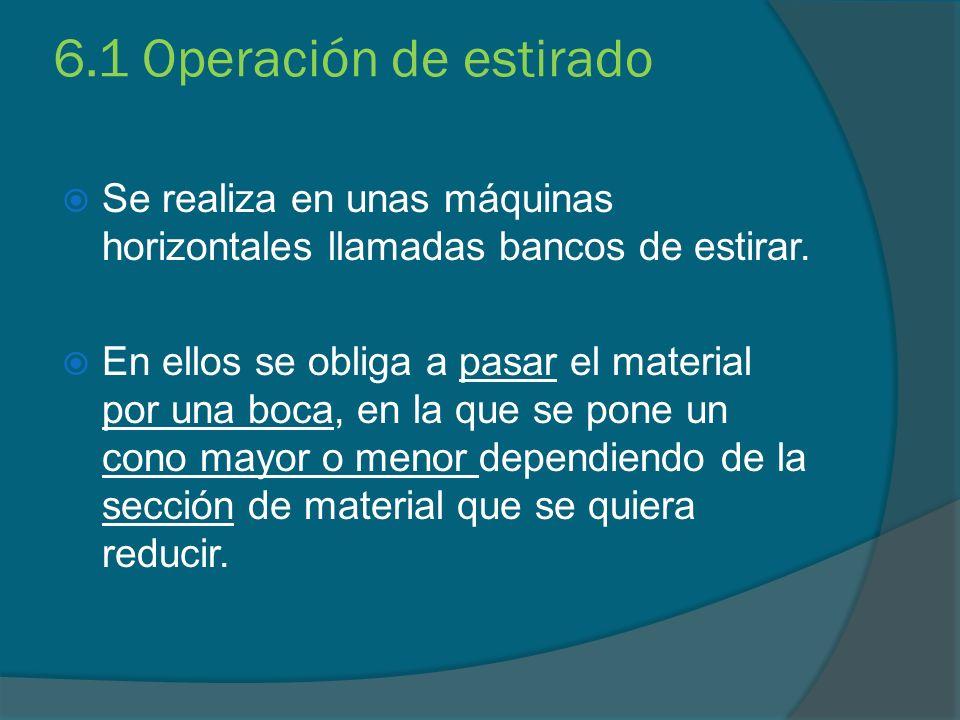 6.1 Operación de estirado Se realiza en unas máquinas horizontales llamadas bancos de estirar.
