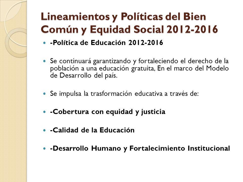 Lineamientos y Políticas del Bien Común y Equidad Social 2012-2016