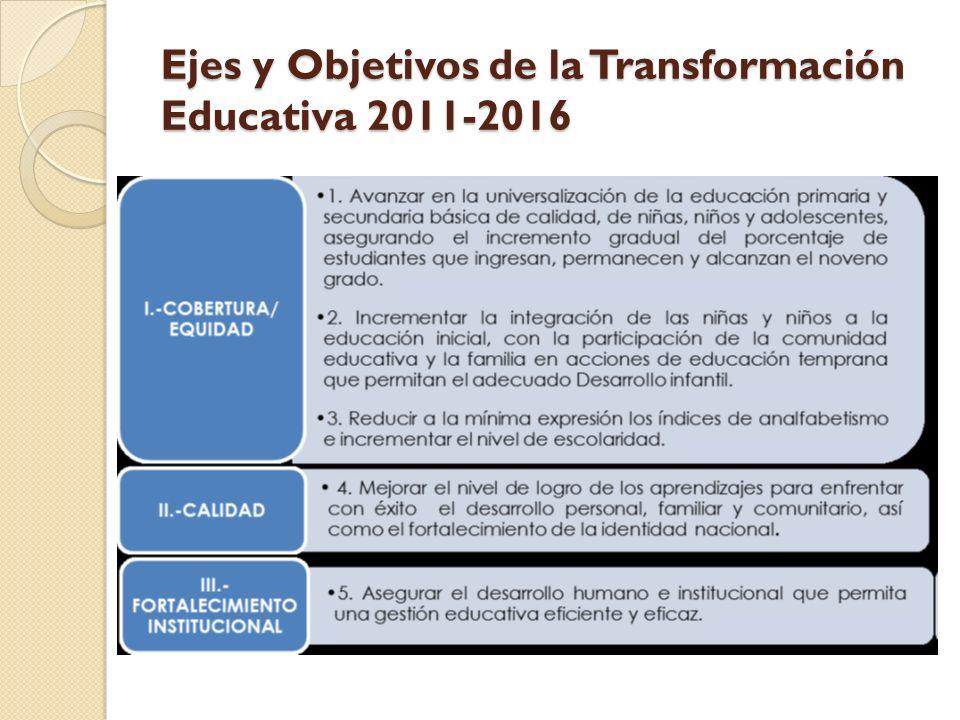 Ejes y Objetivos de la Transformación Educativa 2011-2016