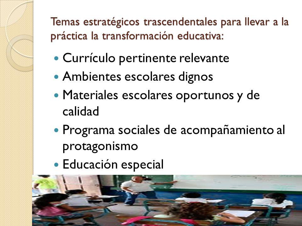 Currículo pertinente relevante Ambientes escolares dignos
