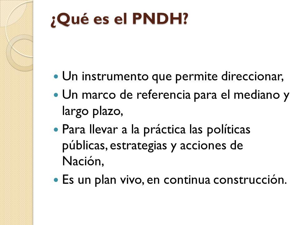 ¿Qué es el PNDH Un instrumento que permite direccionar,