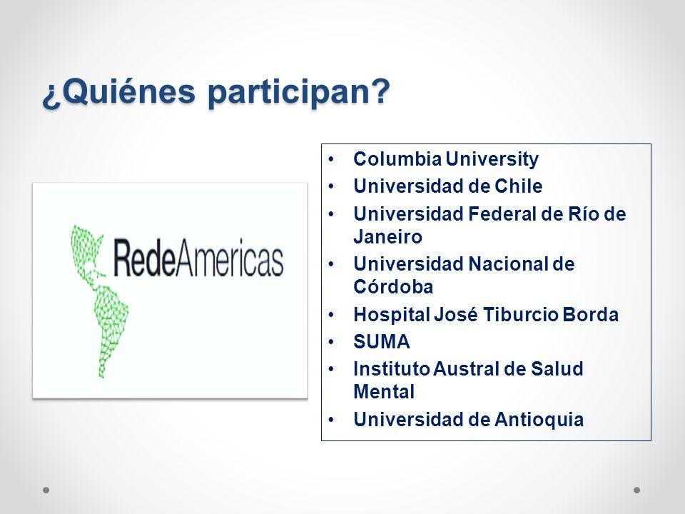 ¿Quiénes participan Columbia University Universidad de Chile